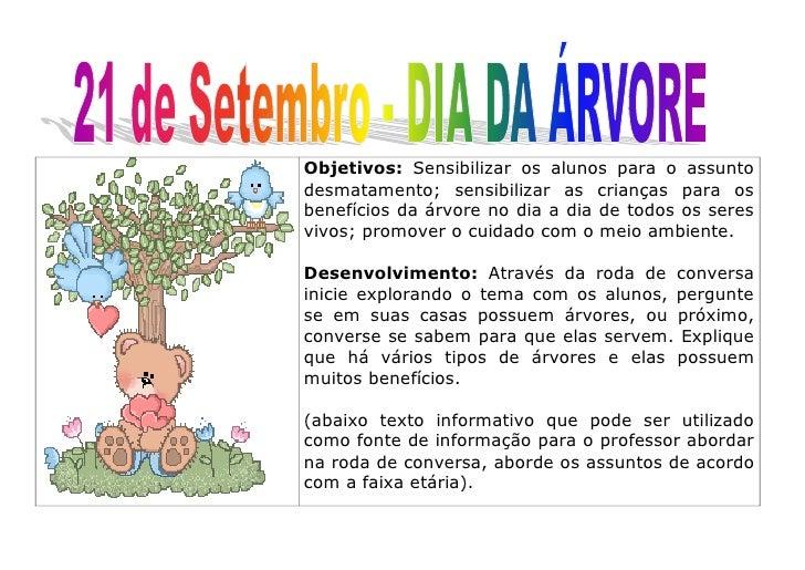 Objetivos: Sensibilizar os alunos para o assunto desmatamento; sensibilizar as crianças para os benefícios da árvore no di...
