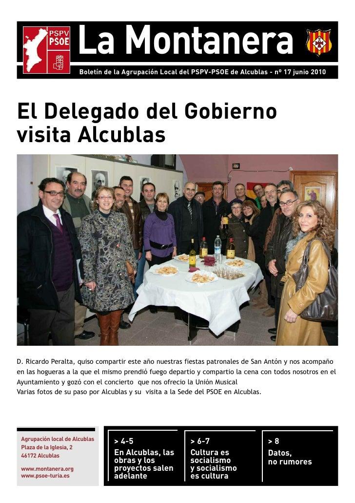 La Montanera                        Boletín de la Agrupación Local del PSPV-PSOE de Alcublas - nº 17 junio 2010     El Del...