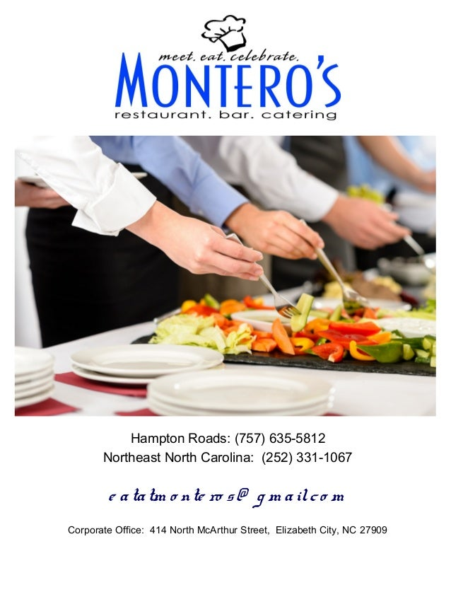Montero's restaurant corporate menu 2013 & 2014