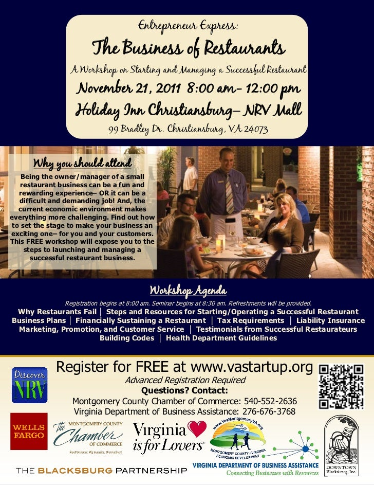 Montgomery The Business of Restaurants Workshop Flier, November 21, 2011