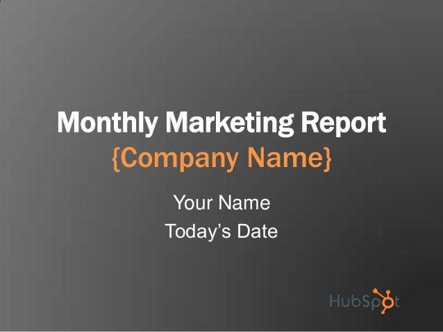 Plantilla de Hubspot para presentar informe mensual de marketing