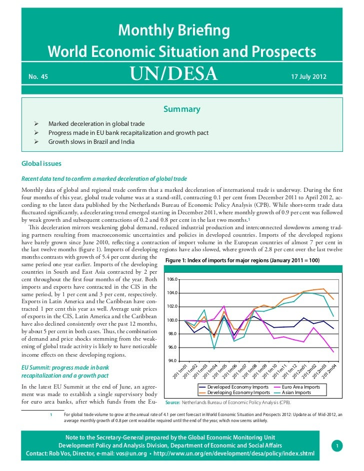 Monthly Briefing          World Economic Situation and Prospects  No. 45                                          UN/DESA...