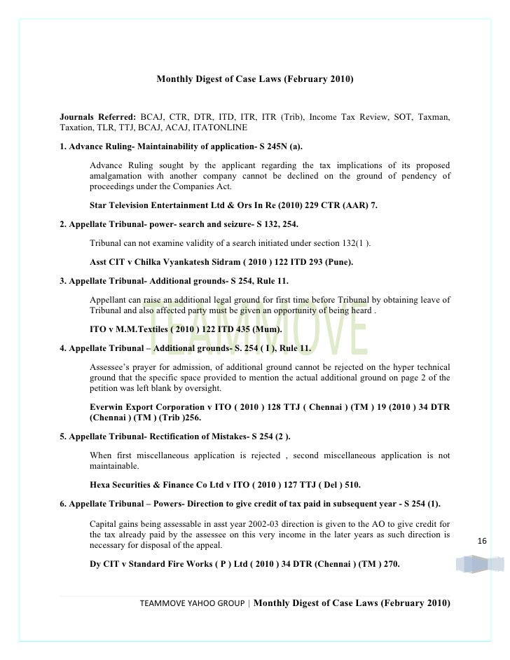 Monthly Digest of Case Laws (February 2010)   Journals Referred: BCAJ, CTR, DTR, ITD, ITR, ITR (Trib), Income Tax Review, ...