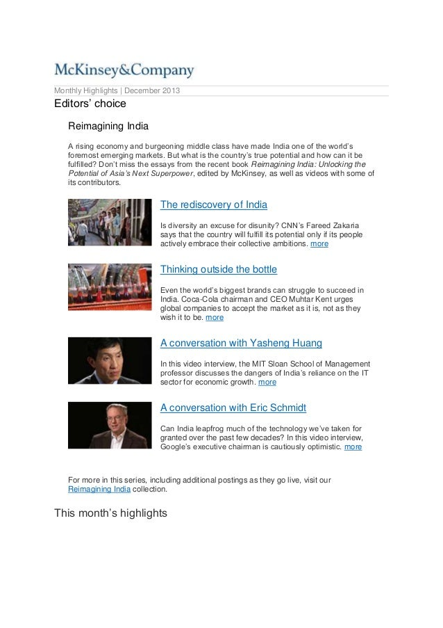 Monthly Highlights | December 2013  Editors' choice Reimagining India A rising economy and burgeoning middle class have ma...