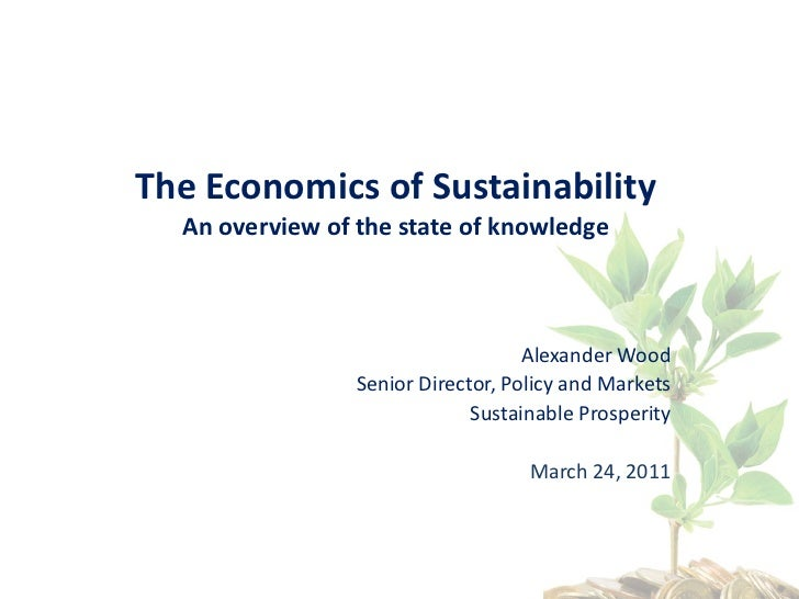The Economics of Sustainability - An overview of the state of knowledge