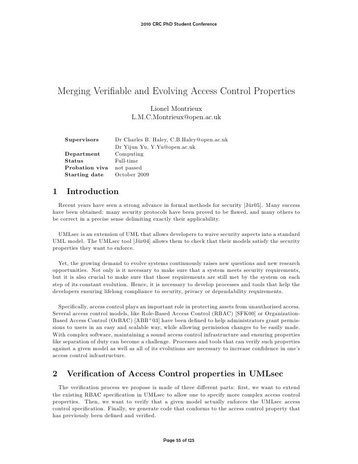 2010 CRC PhD Student Conference         Merging Verifiable and Evolving Access Control Properties                          ...