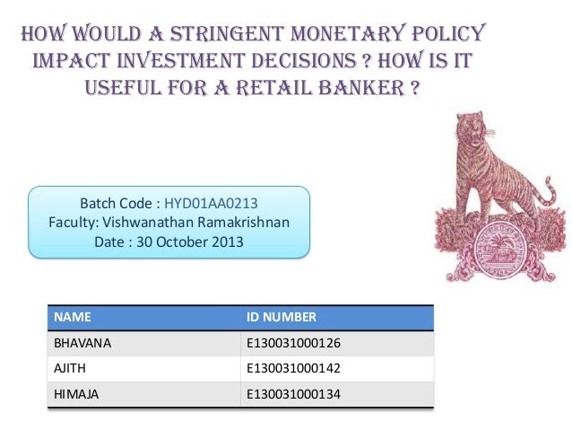 monetary policy and its effect on