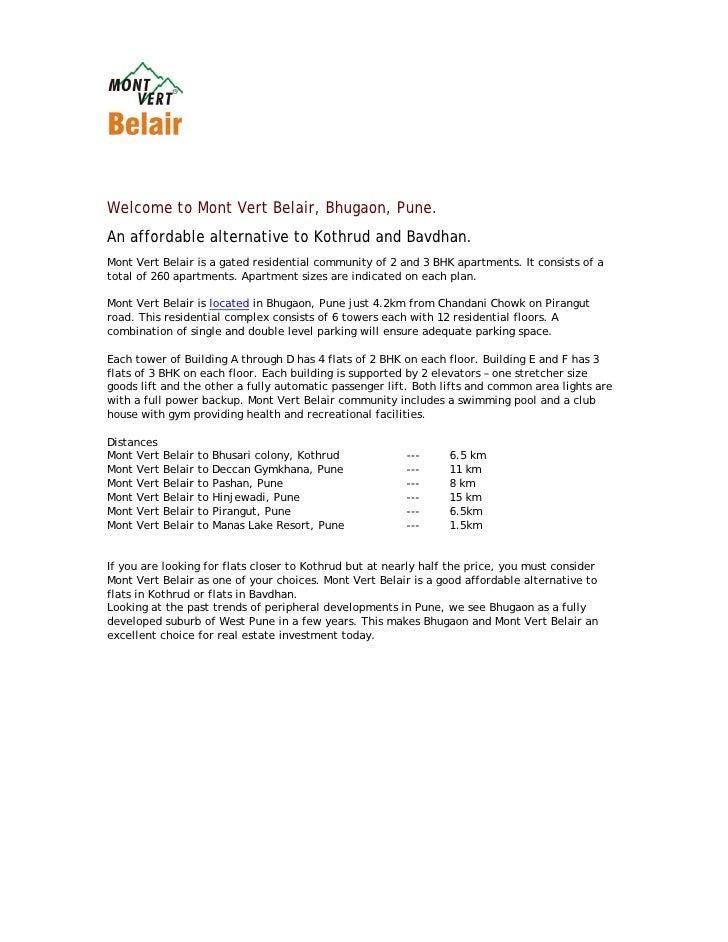 Mont Vert Belair Bhugaon Pune 411 042 E Brochure