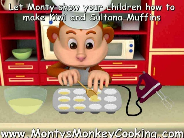 Let a monkey teach your kids how to make Kiwi & Sultana Muffins