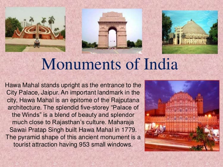 Monuments of IndiaHawa Mahal stands upright as the entrance to theCity Palace, Jaipur. An important landmark in thecity, H...