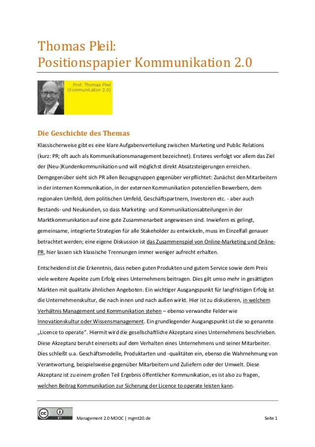 MOOC Management 2.0: Positionspapier Kommunikation