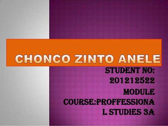 Student no: 201212522 Module Course:Proffessiona l studies 3A
