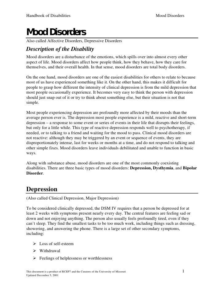 Handbook of Disabilities                                                             Mood Disorders    Mood Disorders Also...