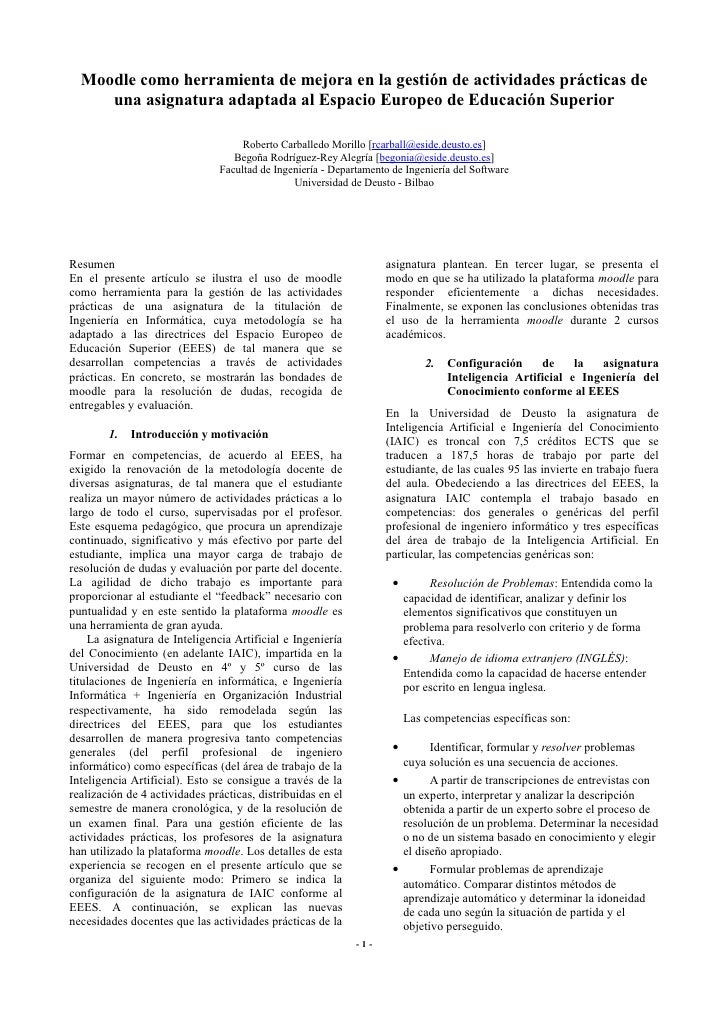 Moodle como herramienta de mejora en la gestión de actividades prácticas de      una asignatura adaptada al Espacio Europe...
