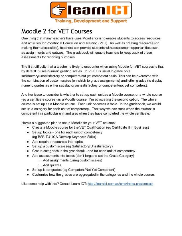 Moodle 2 for vet customising grades for competency based assessment