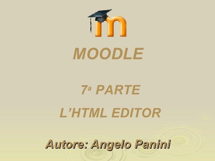 Moodle sesta parte: l'html editor
