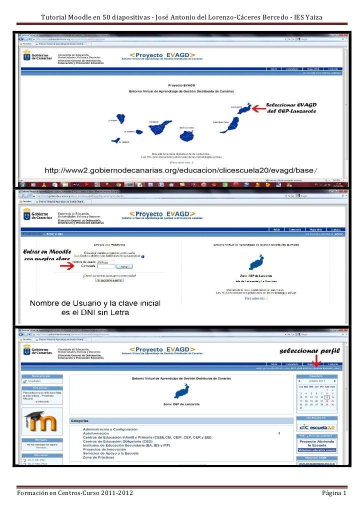 Tutorial Moodle en 50 diapositivas - José Antonio del Lorenzo-Cáceres Bercedo - IES YaizaFormación en Centros-Curso 2011-2...