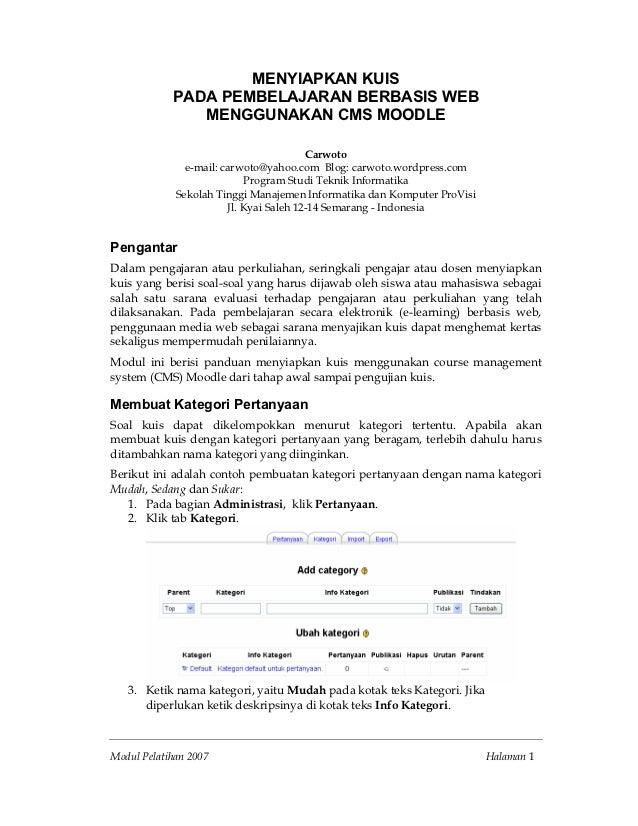 MENYIAPKAN KUIS            PADA PEMBELAJARAN BERBASIS WEB               MENGGUNAKAN CMS MOODLE                            ...