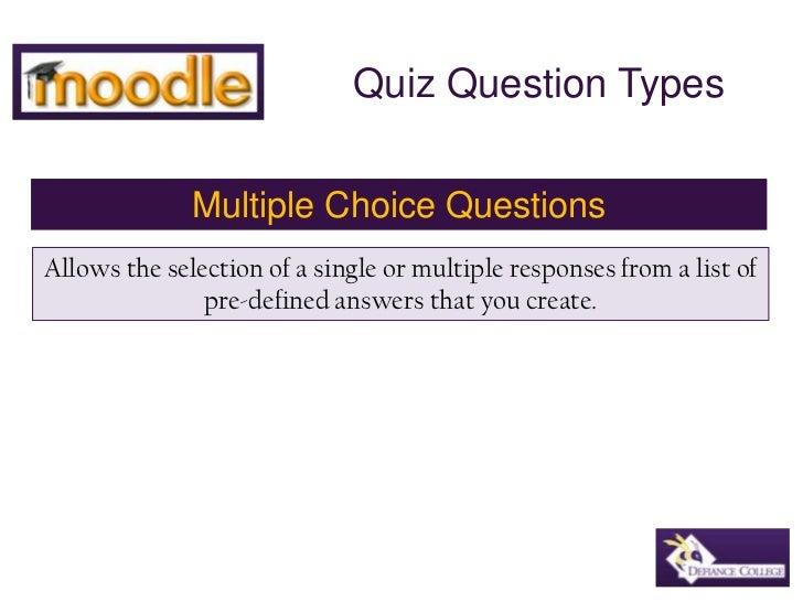 Moodle multiple choice quiz question