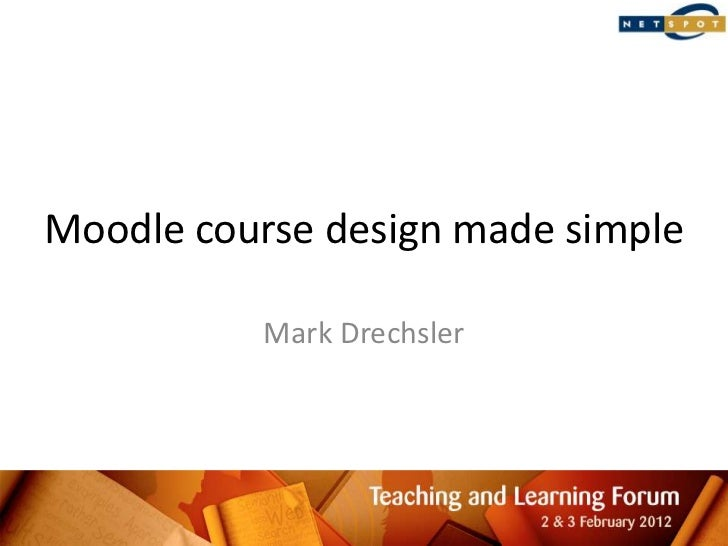 Moodle course design made simple