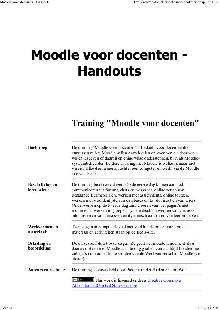 Moodle voor docenten - Handouts                                           http://www.sofos.nl/moodle/mod/book/print.php?id...