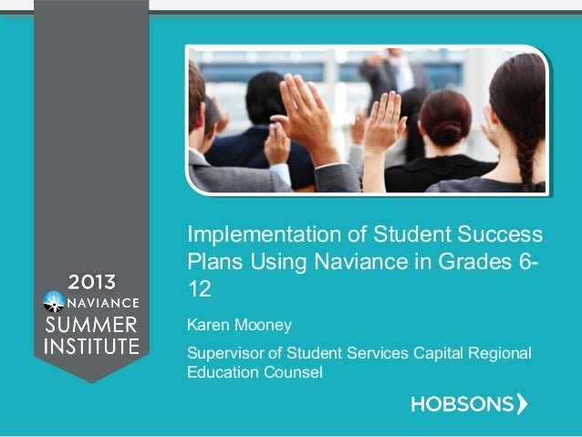 Implementation of Student Success Plans Using Naviance in Grades 6- 12 Karen Mooney Supervisor of Student Services Capital...