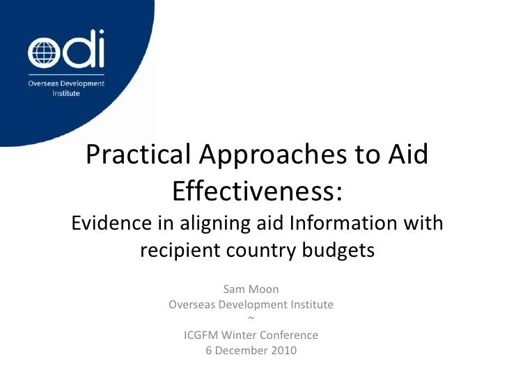Moon practical approaches to aid effectiveness