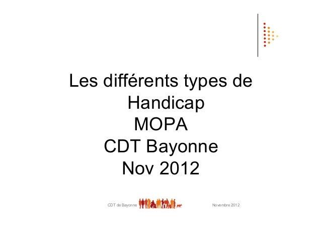 Les différents types de        Handicap         MOPA    CDT Bayonne       Nov 2012    CDT de Bayonne   Novembre 2012