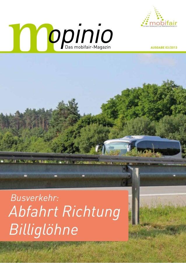 Busverkehr: Abfahrt Richtung Billiglöhne Ausgabe 03/2013