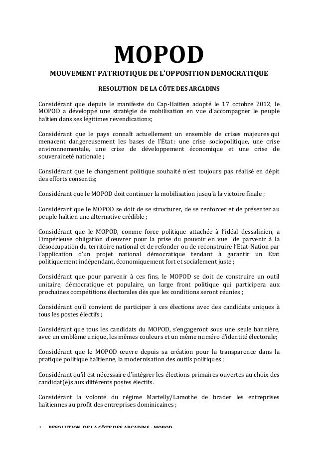 MOPOD	     MOUVEMENT	   PATRIOTIQUE	   DE	   L'OPPOSITION	   DEMOCRATIQUE	   	    	     RESOLUTION	   	   DE	   LA	   CÔTE...