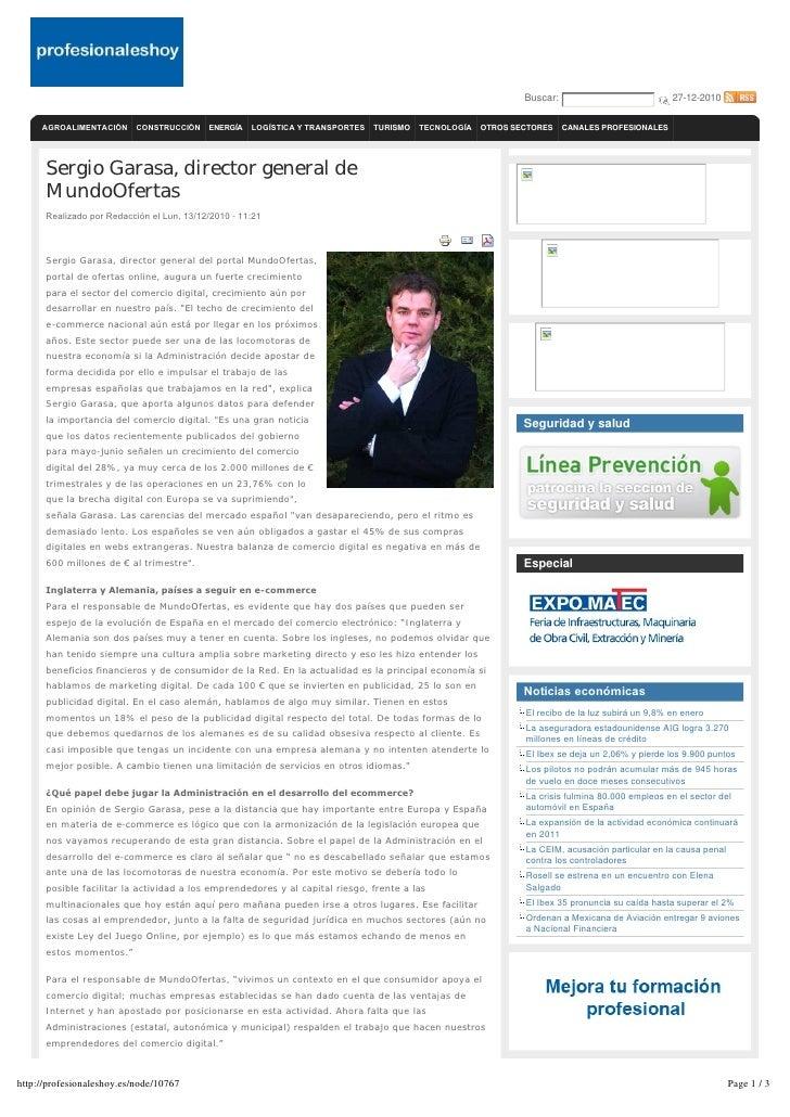 """MundoOfertas Muestras Gratis en profesionaleshoy.com: """"Sergio Garasa, Director General MundoOfertas"""" 13 dic 10"""