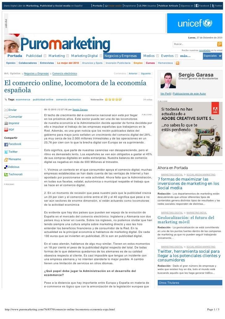 """MundoOfertas Muestras Gratis en Puromarketing.com:  """"El comercio online, locomotora de la economía española"""" 09 dic 10"""