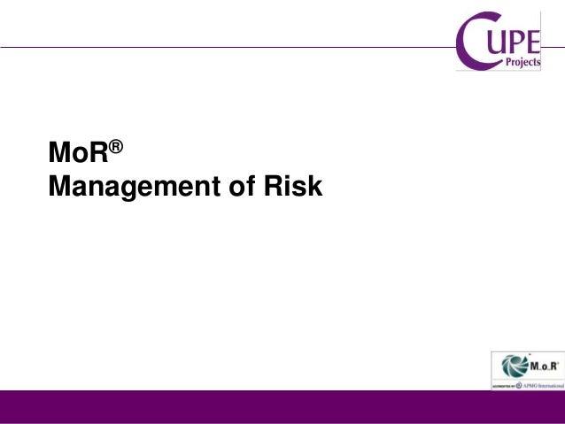 MoR® Management of Risk