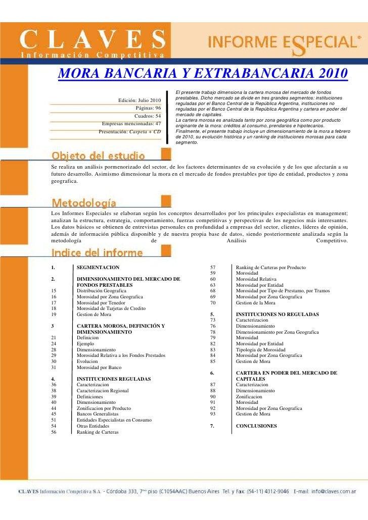 MORA BANCARIA Y EXTRABANCARIA 2010                                                       El presente trabajo dimensiona la...