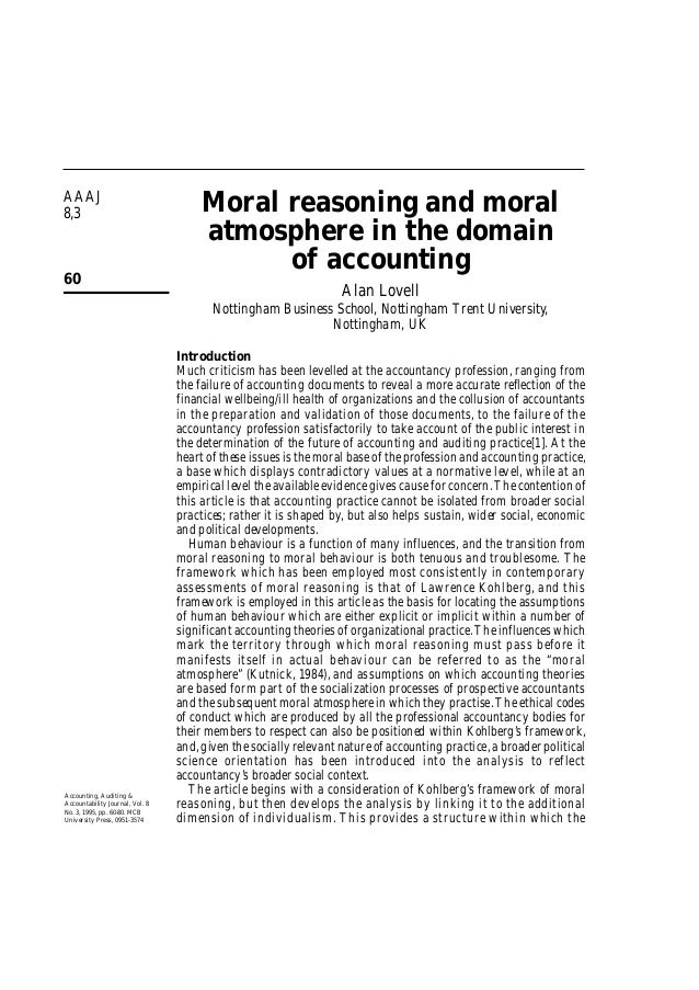 AAAJ 8,3 60 Moral reasoning and moral atmosphere in the domain of accounting Alan Lovell Nottingham Business School, Notti...
