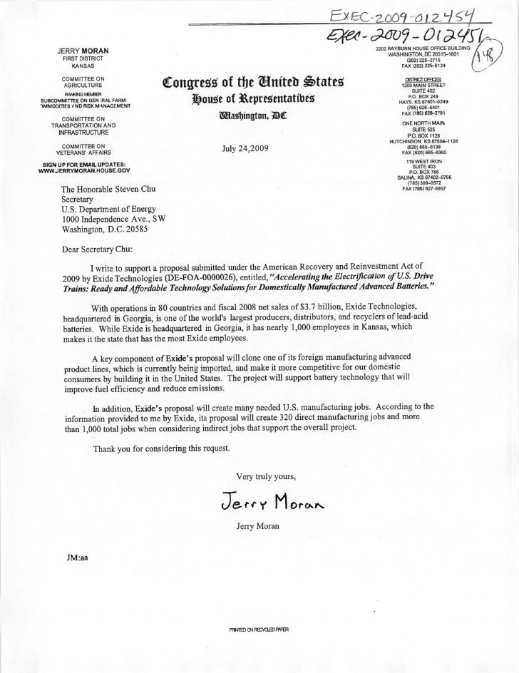 Senator Moran (R-KS) clean energy grant request