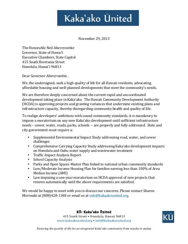 November  29,  2013      The  Honorable  Neil  Abercrombie   Governor,  State  of  Hawai'...