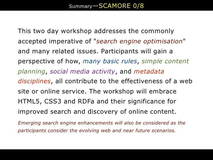 Maximising Online Resource Effectiveness Workshop Preamble