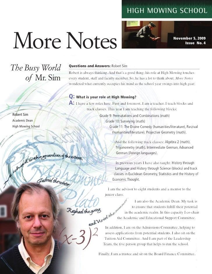More Notes                                                                                   November 5, 2009             ...
