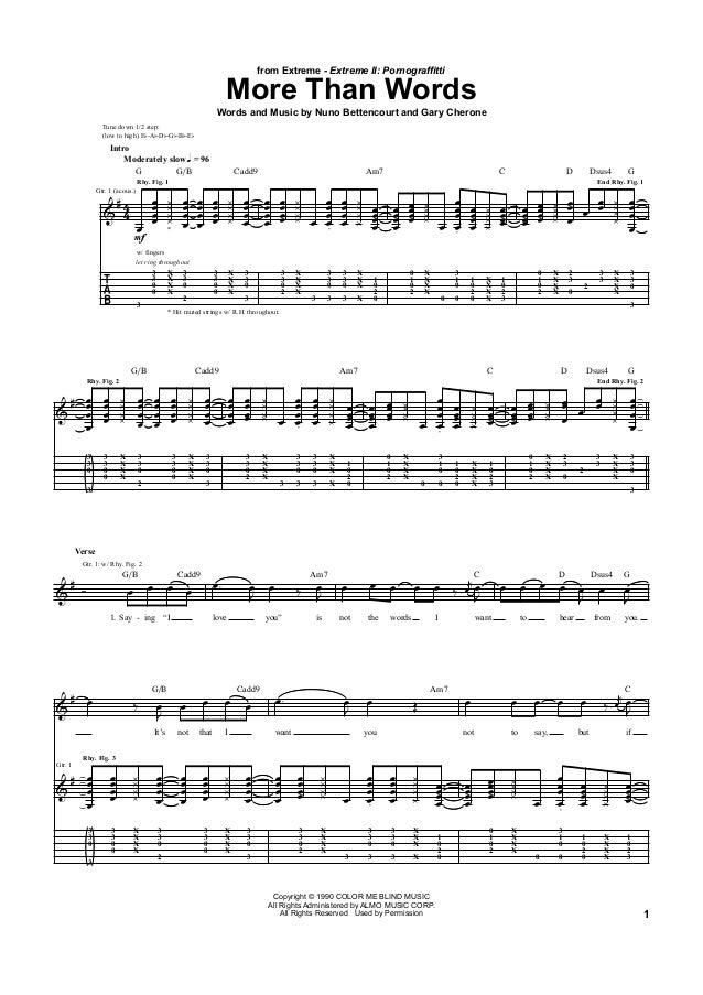 Extreme tablatura e partitura de guitarra de More than words