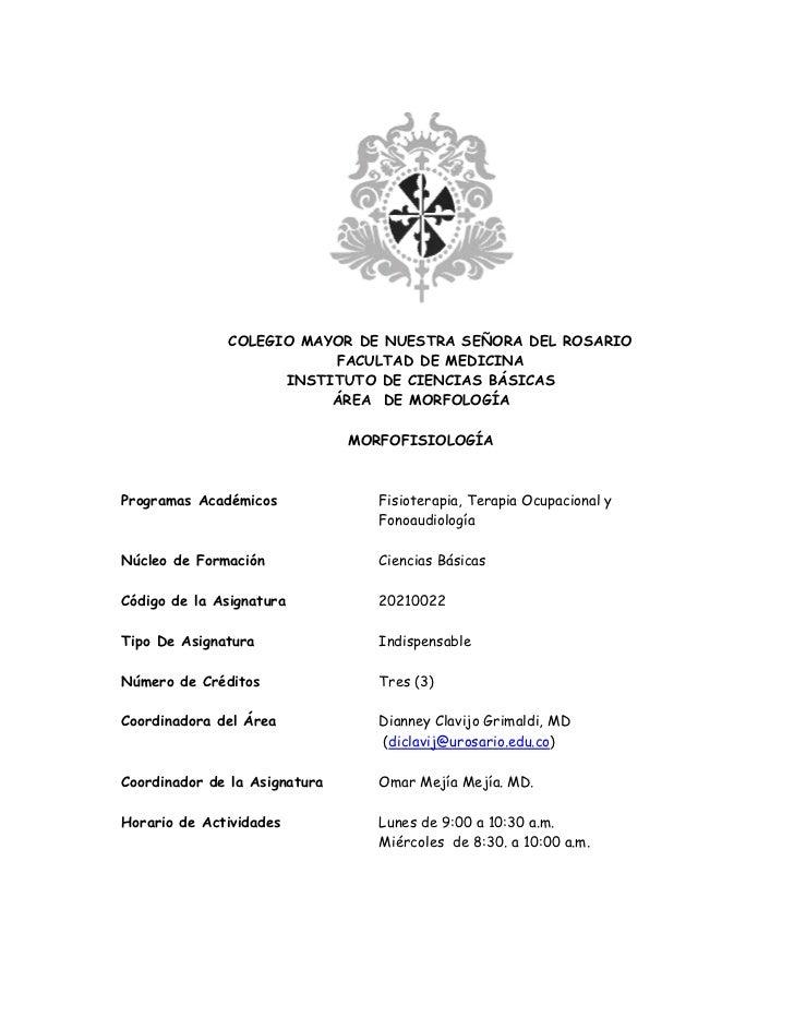 COLEGIO MAYOR DE NUESTRA SEÑORA DEL ROSARIO                          FACULTAD DE MEDICINA                     INSTITUTO DE...