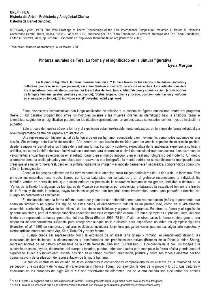 """1 UNLP ~ FBA Historia del Arte I - Prehistoria y Antigüedad Clásica Cátedra de Daniel Sánchez.  MORGAN, Lyvia: (1997) """"The..."""