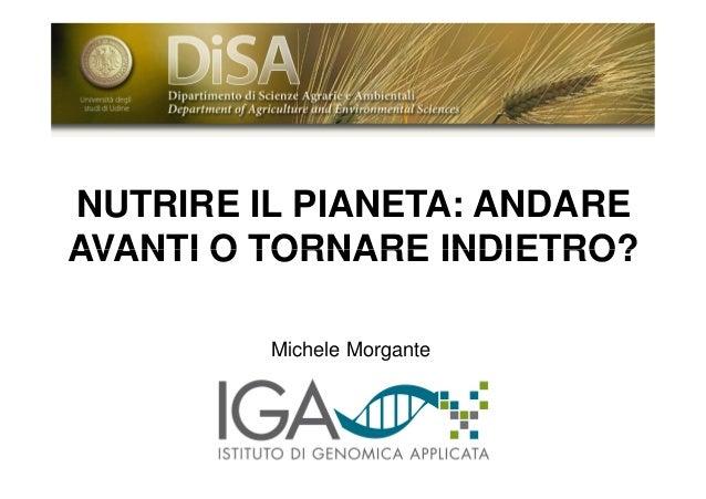 NUTRIRE IL PIANETA: ANDARE AVANTI O TORNARE INDIETRO? Michele Morgante