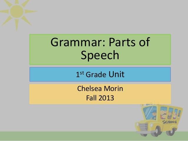 Grammar: Parts of Speech 1st Grade Unit Chelsea Morin Fall 2013