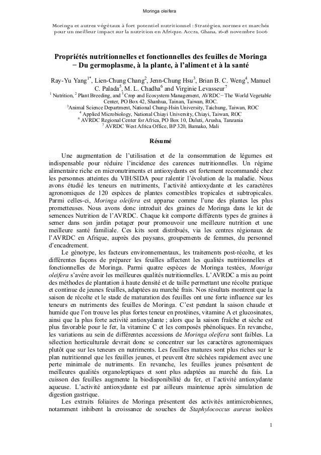 Moringa oleifera  Moringa et autres végétaux à fort potentiel nutritionnel : Stratégies, normes et marchés  pour un meille...