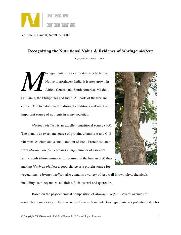 Volume 2, Issue 8, Nov/Dec 2009          Recognizing the Nutritional Value & Evidence of Moringa oleifera                 ...