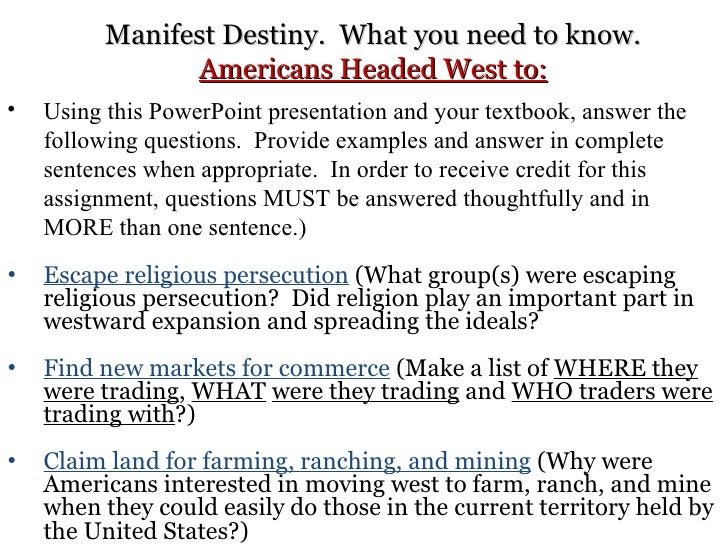 Manifest destiny essay question
