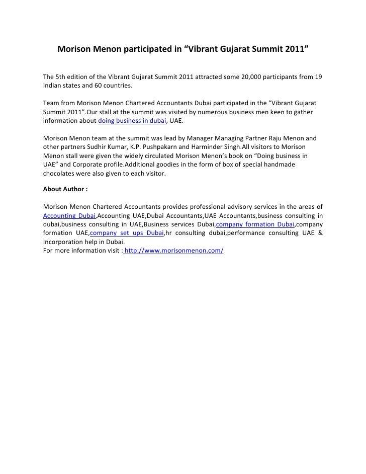 """Morison menon participated in """"vibrant gujarat summit 2011"""""""