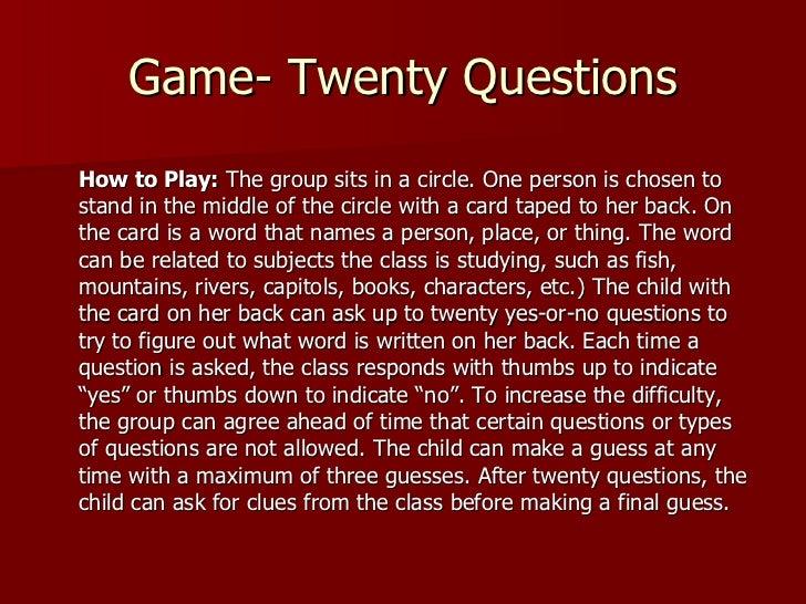 Game Twenty Questions