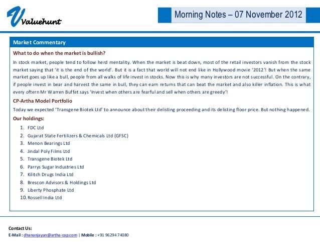 V     Valuehunt                                                                               Morning Notes – 07 November ...